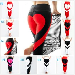 Wholesale Women Workout Clothes - Yoga Pants Sports Leggings 2018 Sexy Peach Hips Heart Shape Gym Clothes Spandex Running Workout Women Patchwork Fitness Tights fast shipping