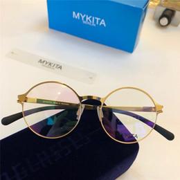 427b4d5de Nova MYKITA Óptica óculos 1766 frame redondo com espelho lente ultralight  frame Memory Alloy homem e mulheres de grandes dimensões lente HD com caixa  óculos ...