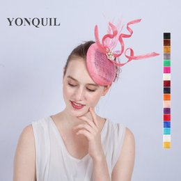 Wholesale Sinamay Cocktail Hat - Wholesale-High Quality 17color Ladies Fascinators with pearl Racing Season Hats pink Sinamay Wedding Hat for Cocktail Party Event Occasion