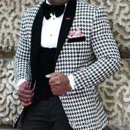 la festa indossa per la mens Sconti 3 pezzi Vendita caldo Mens Groom Abbigliamento formale Houndstooth Blazer Dinner Party Prom Abiti Groomsmen Smoking dello sposo Uomini Abiti da sposa Sposo