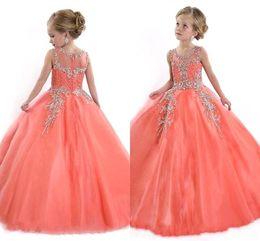 Little Kids Girls Desfile De Vestidos Para Adolescentes Princesa Tulle Jewel Crystal Rebordear Coral Kids Flower Girls Dress Vestidos De Cumpleaños