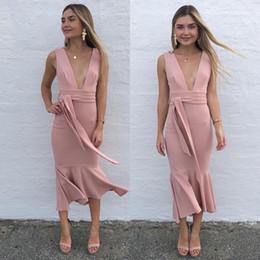 noite, formal, vestido, tornozelo, comprimento Desconto 2018 rosa vestidos de coquetel bainha sem mangas tornozelo comprimento do baile de finalistas vestido de festa vestidos de festa Formal barato