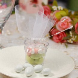 Cubeta de ducha online-100 unids Mini Transparant Bucket Candy Boxes Clear Bucket Candy Holder Favors Baby Shower Ideas del banquete de boda Fiesta de cumpleaños regalos
