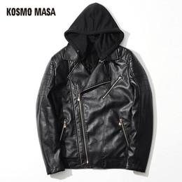 Wholesale Gray Suede Jacket - KOSMO MASA 2017 Faux Fur Hooded PU Leather Suede Jacket for Men Winter Mens Turkey Motorcycle Bikers Slim Black Fit Coats MF004