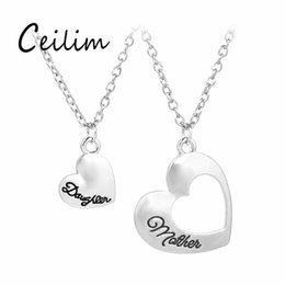 Wholesale Mother Daughter Jewelry Pendants - New Fashion Family Jewelry 2pcs set Hollow Heart Silver Colors Plating Daughter Mother Letter Necklace 2018 Fit Birthday & Mother's Day Gift