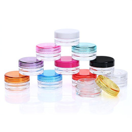 3 g topf Rabatt 3g / 5g Kosmetische Sichter Gläser Topf Box Nail art Kosmetische Perle Lagerung Make-Up Creme Kunststoffbehälter Runde Mehrwegflaschen LZ1891