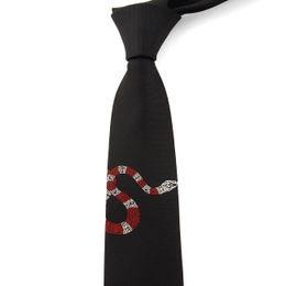 Wholesale korea fashion women - women\men fashion novelty Embroidery character animal fire red snake neck ties 6cm skinny slim Korea stropdas for heren\students