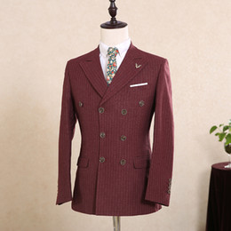 Wholesale Mens Grey Pinstripe Suit - Customize Wine Red Mens Suits For Weddings Italy Fitted Pinstripe Suit 2017 Gentle Cotton Blazers 3 piece Mens Dress men Suit
