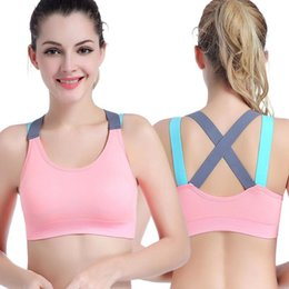 44405e25f1843 Push Up Women Sports Yoga Bra Fitness Cross Strap Womens Gym Running Padded  Seamless Tank Top Athletic Vest Underwear