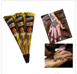Tatuajes de pintura temporal online-Black Indian Henna Tattoo Paste Body Art Paint Mini Natural Henna Paste for Body Drawing Dibujo temporal en Body By Yourself