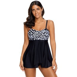 Wholesale Chevron L - Women's fashion plus size swimsuit chevron fast dry vintage bathsuit printed tankinis girls fashion beach wear L XL 2XL 3XL 4XL 5XL