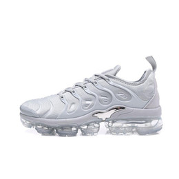 Wholesale Shock Sports - New Vapormax TN Plus Running Shoes Classic Outdoor Run Shoes Vapor tn Black White Sport Shock Sneakers Mens requin Olive Silver In Metallic