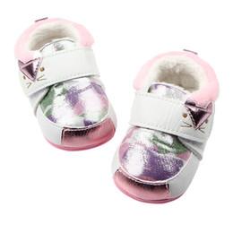 Wholesale girls kitten shoes - Baby Boys Girls Cartoon Winter Cute Shoes Kitten Pattern Hard Bottom Infant Antiskid Shoes For 6-15Month Kids