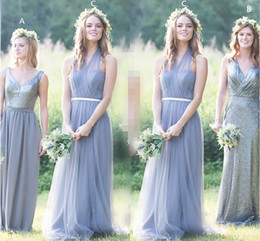 Wholesale long gray chiffon bridesmaid dress - Halter Tulle Floor Length Bridesmaid Dresses Pleated Sequins Gray Wedding Party Dress V Neck Chiffon Long Bridesmaid Gowns