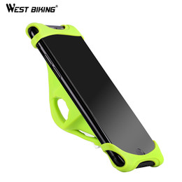 Держатель для мобильного телефона онлайн-WEST BIKING Silicone Bike Phone Holder 4.0-5.5 inch Smart Mobile Phone Bike Mount Bracket GPS Stand Bicycle Holder