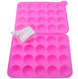 cake pops mould cupcake Promo Codes - Silicone Cake Stick Pops Mould Cupcake Baking Tray Pop Mold Party Kitchen chocolate Tools 20 holes free shipiing #A18C