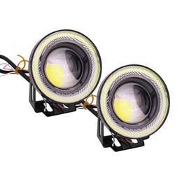 Angelo occhi nebbia online-LOONFUNG LF89 2pcs Universale impermeabile Fendinebbia a LED con lente Halo Angel Eyes Anelli COB