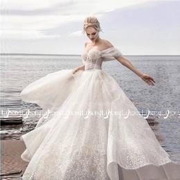 Невесты корсеты онлайн-Кристалл блестки корсет с плеча свадебное платье Vestido де новия романтический кружева Up свадебные платья макси невесты на заказ длинные платья