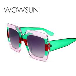 Blaue kristallgläser online-WOWSUN Luxus Übergroßen Quadratischen Sonnenbrille Frauen Vintage Markendesigner Kristallrahmen Sonnenbrille für Frau Rot Blau Shades A252