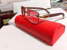 Decoração do desenhador on-line-Venda quente Chifre de Búfalo Óculos Designer de Marca Homens Óculos de Decoração Sem Aro Frame da Liga Búfalo Madeira Pernas Homens Óculos De Sol lunettes de soleil