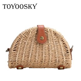 Wholesale bohemian purses - TOYOOSKY 2018 New Fashion Women Straw Bags Semi-circle Shoulder Bag Rattan Handbag Female Casual Crochet Summer Beach Bag Purse