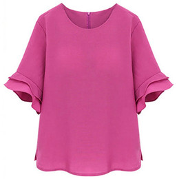 Wholesale Ladies Tops Butterfly Sleeve - MUQGEW 2017 new fashion female women Large size ladies lotus sleeves loose T-shirt L-5XL plus size Butterfly Sleeve summer Tops