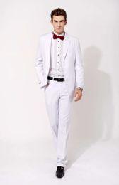 2019 модный галстук Custom White Suits Men's Blazers Slim Fit Fashion  Male Vogue Tuxedos Wedding Groom Prom Formal ( jacket+Pants+tie) дешево модный галстук