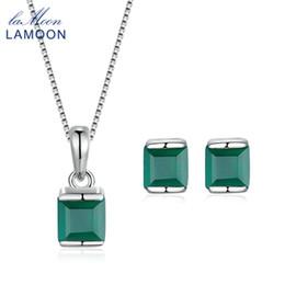 LAMOON Verde Natural Calcedonia 925-Plata Esterlina Conjuntos de Joyas Collar de Cadena Colgante + Pendientes para Mujeres V008-5 desde fabricantes