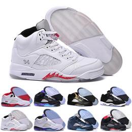 Wholesale Marks Shoes - 2017 retro 5 mens Basketball Shoes space jam Green bean Mark Ballas Fire Red Metallic Silver Green Bean Oreo Sneakers Size 41-47
