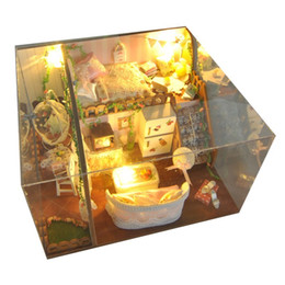 Wholesale Dollhouse Miniature Flowers - T-Yu TD10 Spring Flowers House DIY Dollhouse With Light Cover Miniature Model Gift Collection Decor Toy For Children