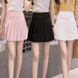 Wholesale Girls Sailor Skirt - 2018 High Waist Lolita Denim Pleated skirts Harajuku girls A-line Mini Sailor Skirt Large Size Japanese school uniform Skirts