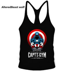 América ropa hombres online-Captain Hot Sale America Print Hombres Tank Tops Bodybuilding Cotton Tank Top Brand Workout Hombres Chaleco Fitness Camisa sin mangas Ropa