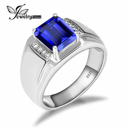 Wholesale Solid Silver 925 Man Rings - Luxury 4.4ct Created Ring 925 Solid Sterling Silver Men Fashion Engagement Wedding Jewelry Hot Sale