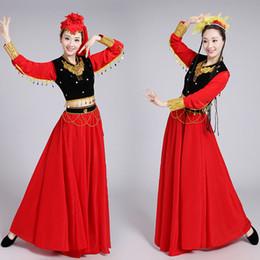 vestiti etnici tradizionali Sconti Costume nazionale di danza dello Xinjiang delle donne Vestito etnico cinese di dancing Vestiti tradizionali di prestazione della ragazza Vestiti di Cosplay