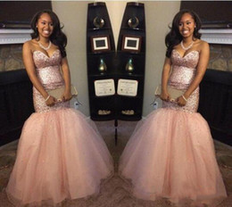 Wholesale Peach Petals - 2017 Peach Aso Ebi Bling bling Sequins Black Girl Backless Mermaid Prom Dresses Sweetheart Backless vintage South Africa Evening Gowns