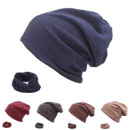18745745d53 2018 Turban Hat Scarf Men Winter Hats For Women Slouchy Beanie Cotton  Autumn Cap Casual Solid Unisex Skullies Beanies Baggy Caps