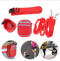 Wholesale dog gym - Multifunction Hands Free Dog Leash Training Suit Pet Dogs Reflective Stripe Adjustable Waist Belt with Pouch Bag for Walking Running KKA5074