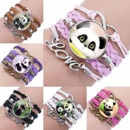 Wholesale infinity heart pendant - Fashion Glass Cabochon pendant Infinity Love Leather Charm double heart Bracelet For New panda Jewelry Glass Wrap Bracelet drop ship 320049