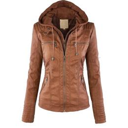 Giacca in pelle finta donna 2017 Cappotti invernali Slim donna PU giacche in pelle con cappuccio Zip-up Jacket Coat per le donne da