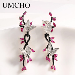 Настоящие рубиновые серьги онлайн-UMCHO  Butterfly Real 925 Sterling Silver Jewelry Created Ruby Black Spinel Earrings Special Gifts For Women Fine Jewelry