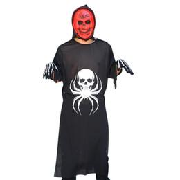 2019 maschera i pezzi 3-Piece Costume di Halloween Spider Bones Ghosts Set adulto Ghost Festival Cosplay Suit Maschile femmina COS Ghost Clothes + Mask + Gloves maschera i pezzi economici