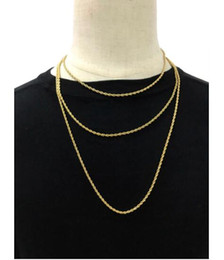 """Wholesale Rope Chain Mens - AAAAA quality 24K gold plated Hip Hop Stainless steel Rapper's 3mm 20 24 30"""" Rope Chain Mens Gold Filled men Rope Chain Necklace"""
