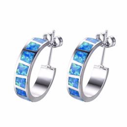 argento sterling opalino Sconti Semplice elegante argento 925 riempito blu fuoco opale cerchio orecchini a cerchio gioielli regali per le donne regali di compleanno
