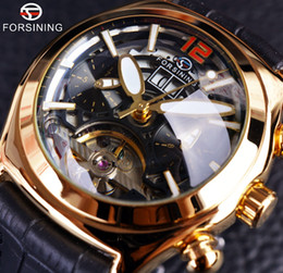 Wholesale 3d calendar - Forsining Convex Glass Stylish Tourbillion 3D Designer Genuine Leather Strap Mens Watches Top Brand Luxury Automatic Watch Clock