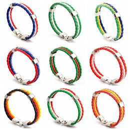 Wholesale String For Kids - Woven Bracelets for 2018 FIFA World Cup Unisex PU Leather Bracelet String Kids Adult Jewelry CCA9499 150pcs