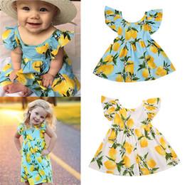 2019 patrones de vuelo Venta caliente nueva 2017 vestido de la muchacha del verano fruta patrón de limón vestido de la muchacha del bebé niños vestidos de verano niños volar tutú sin respaldo falda B rebajas patrones de vuelo