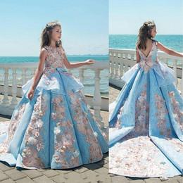 Wholesale Lace First Holy Communion Dresses - Blue Girls Pageant Dresses First Holy Communion Princess Dress Children Graduation Dress Gowns 3D-Flower Custom Made Flower Girls Dresses