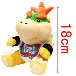 Wholesale Super Mario Koopa - New Arrival Super Mario Bowser Koopa JR Stuffed Plush Doll Soft Baby Toy 18cm Embroidery Koopa Christmas Gift For Children