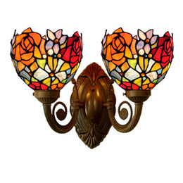 Wholesale Mediterranean Bedside Lamps - Vintage Art Deco Red Rose Flower Two LED Wall Lamp Light Bedside Wedding Marriage Living Drawing Room Salon Stair Porch Lighting