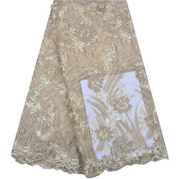 Tessuto francese del merletto di alta qualità con le perle per il tessuto africano del pizzo del pizzo del vestito da partito con le pietre 5 iarde per lotto da